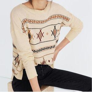 Madewell lightweight sweater geometric embroidery